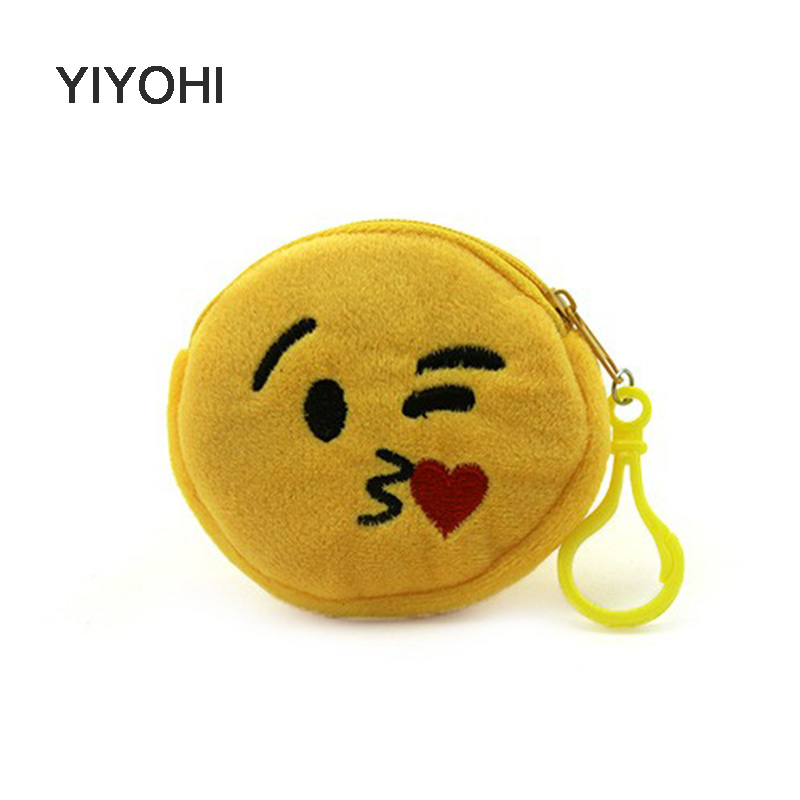YIYOHI 7.5cm*8cm New Mini Bag Accessories Small Emoji Coin Purses Wallet Ladies Fashion Cute Small Zipper Bag Fruits Emoji Smile