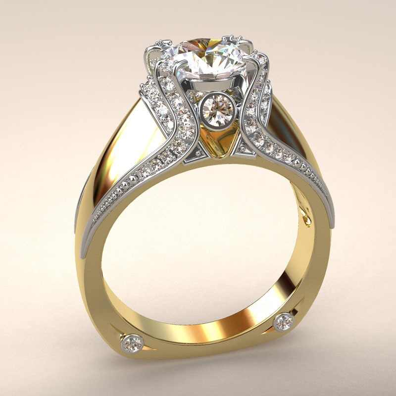 14 k สีเหลืองทองเพชรมงกุฎแหวนแยกหมั้น Anillos Debague Etoile Bizuteria แหวนผู้หญิงเครื่องประดับหยกอัญมณี