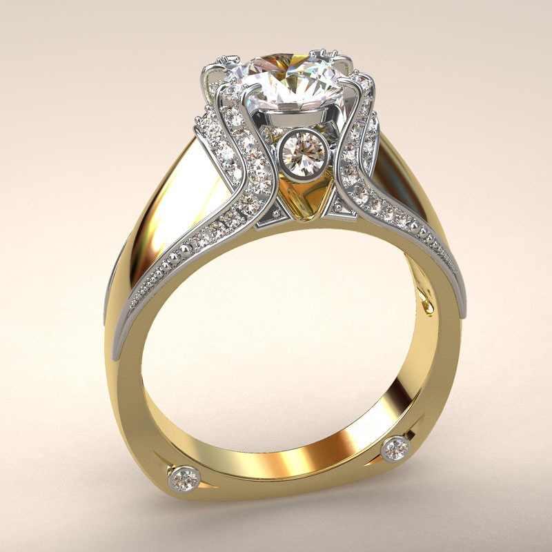 Vàng Vàng 14k Vương Miện Kim Cương Vòng Tách Đính Hôn Anillos Debague Etoile Bizuteria cho Nữ, Nhẫn Nữ Ngọc Trang Sức Đá Quý