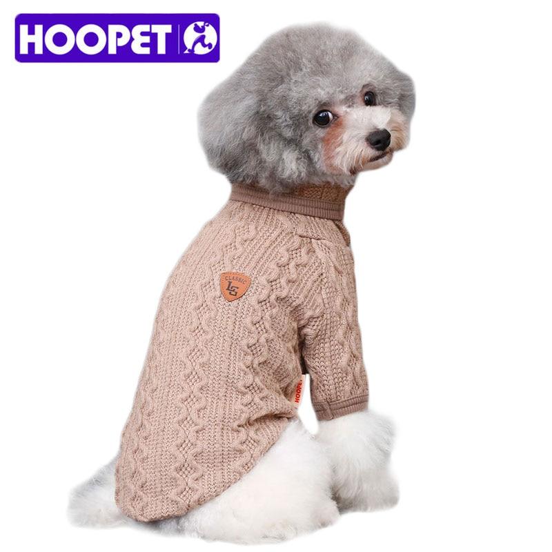 a08d36c93 عالية طوق مرونة الصوف الحيوانات الأليفة سترة الشتاء الدافئة الكلب الملابس  الصلبة نمط محبوك الكلب سترة الحيوانات الأليفة ملابس دروبشيبينغ