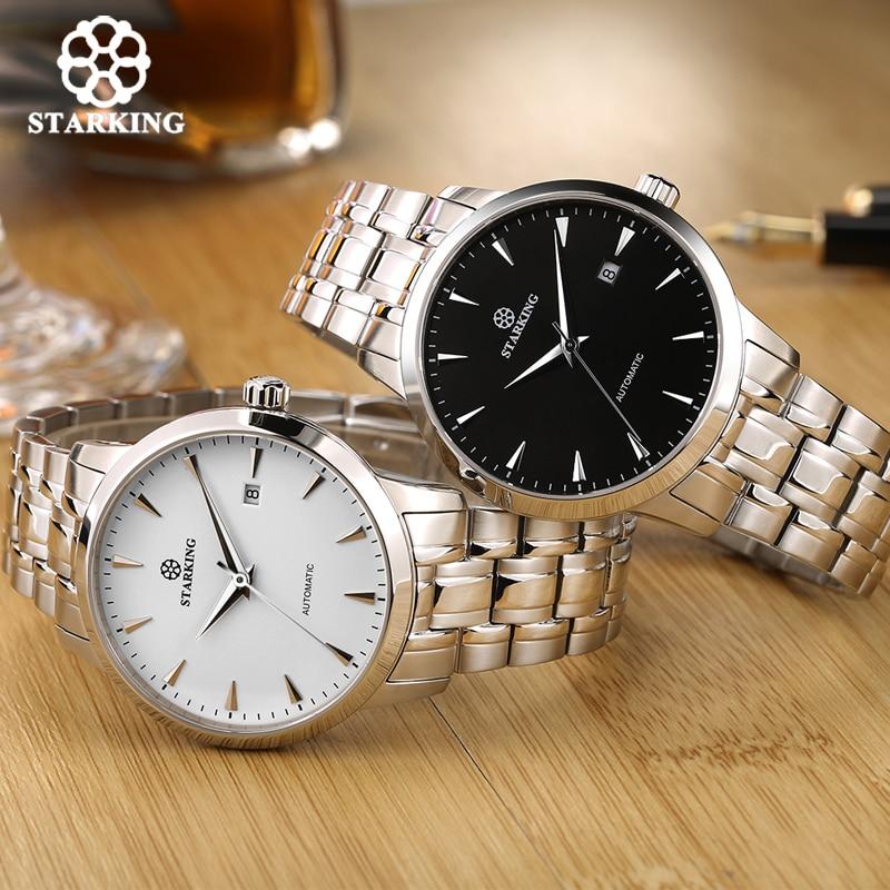 STARKING Original marque montre hommes automatique auto-vent en acier inoxydable 5atm étanche affaires hommes montre-bracelet montres AM0184 - 5