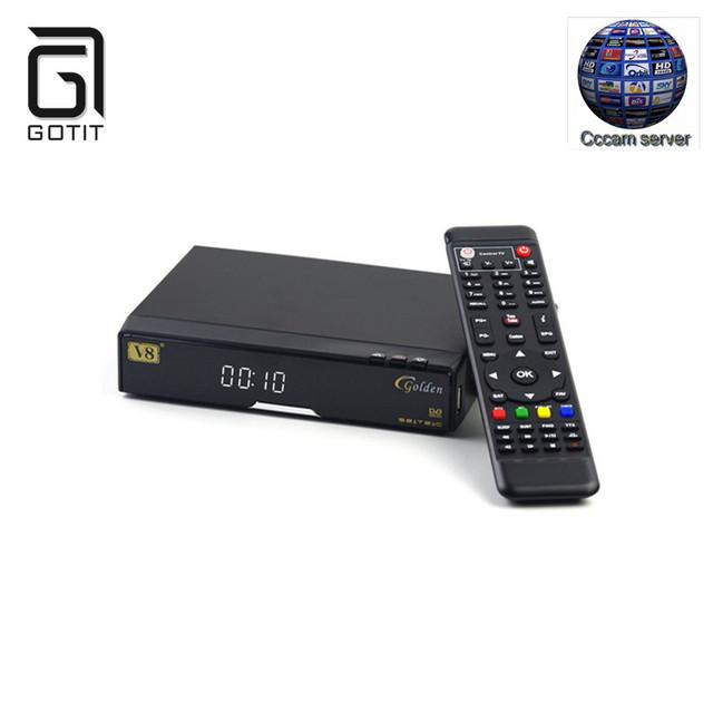 Openbox V8 de Oro con CCcam Europa incluyen USB WiFi Receptor de Satélite HD DVB-S2 COMBO/T2/C Sintonizador Gemelo HD Set Top Box
