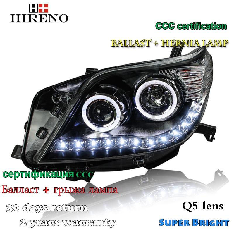 Hireno Headlamp for 2010-2013 Toyota Land Cruiser Prado Headlight Assembly LED DRL Angel Lens Double Beam HID Xenon 2pcs hireno headlamp for mercedes benz w163 ml320 ml280 ml350 ml430 headlight assembly led drl angel lens double beam hid xenon 2pcs
