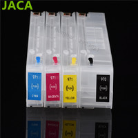 4 Color For HP 970 971 Refillable Ink Cartridge With Chip For HP Officejet Pro X451dn
