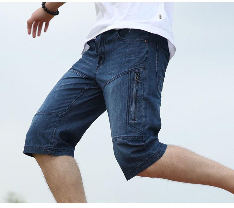 New Arrival Summer short jeans Mens Fashion Multi-Pocket Shorts Plus Size 48 Hip Hop Loose Baggy Denim Cargo Shorts 042605