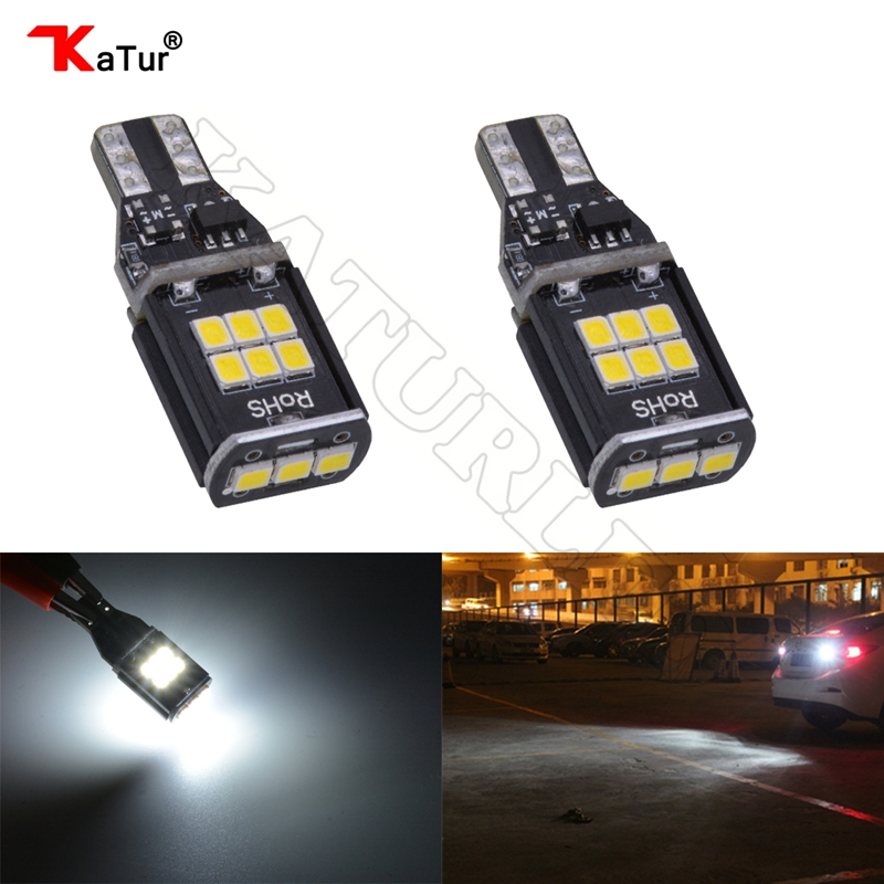 2pcs 12V-24V Canbus 921 912 T15 No Polarity T16 Bulb Light Parking Backup Reverse Led Lamps Auto No Error Lighting 6000K White 2 x error free super bright white led bulbs for backup reverse light 921 912 t15 w16w for peugeot 408