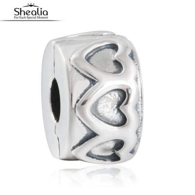 2016 Autumn Row of Hearts Spacer Clip Charms Beads 925 Sterling Silver Jewelry Accessories Fit Original Bracelets & Bangles Diy