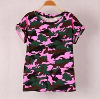 4 Colors Women Camouflage T Shirts Bat Sleeve T Shirts Stretch Cotton Tops Tees Modal Tops