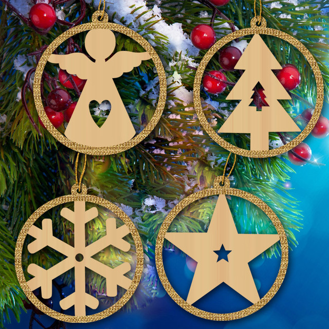 Us 16 14 5 Off 20pcs Wooden Christmas Tree Ornaments Wood Laser Cut Hanging Crafts Christmas New Year Party Decorations Home Decor Pendants In Cake
