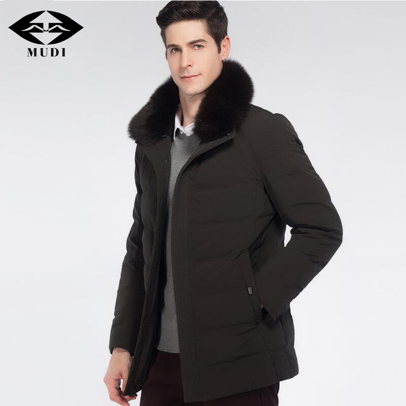 MUDI Mens Winter Jacket 90% Duck Down Jacket Removable Real Fox Fur Collar M-Long Thick Warm Down Coats Male Parka Down Coat