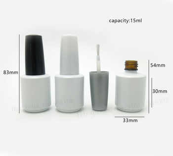300 x 15ml Empty White Glass Nail Polish Bottle With White Black Cap 1/2oz Glass Cosmetic Container Packaging