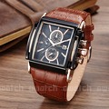 Fashion Casual mens watches top brand luxury Military Sport watches  Clock men Quartz Square dial Leather wistwatch
