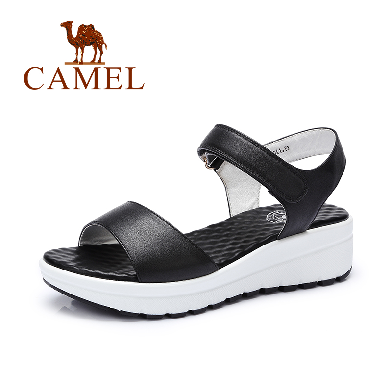 ФОТО Camel women shoes summer new thick muffins sandals leather beach leisure with slope with sandals female A62504634