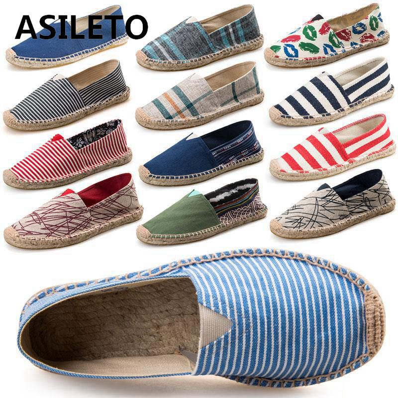 ASILETO 2019 New Arrival Black Retro Vintage Ladies Womens Casual Espadrilles Shoes for Female Unisex Larger Size Breathable(China)