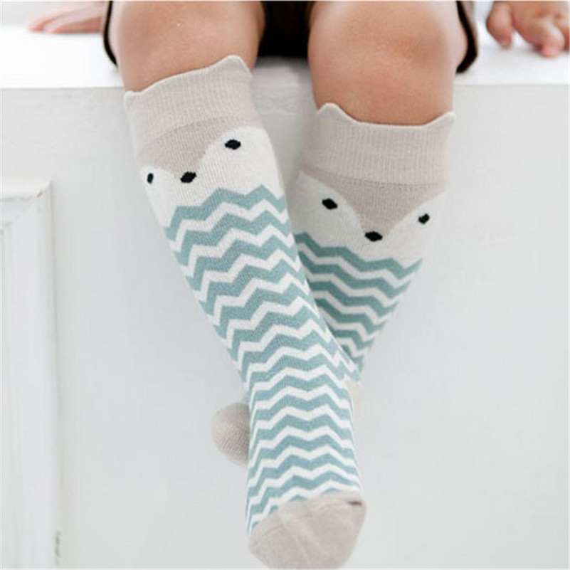 Newborn Kids Girl Boy Socks Animal Pattern Anti-slip Knee High Sock Baby Fox Cat Cotton Cute Cartoon Infant Toddler Socks