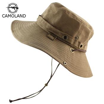UPF 50 + wiadro kapelusz lato mężczyźni kobiety wędkowanie Boonie czapka słońce ochrona UV długie duża szerokim rondem Bob piesze wycieczki słońce kapelusz na zewnątrz Safari tanie i dobre opinie Wiadro kapelusze Poliester Dla dorosłych Unisex Na co dzień Stałe Mieszkanie EBH681 CAMOLAND Bucket Hats Polyester Men Women