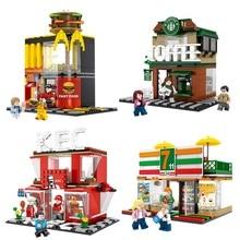 4 комплекта мини-город улица кафе гамбургер магазин строительные блоки Совместимые Legoings город DIY Кирпичи игрушки для детей Подарки