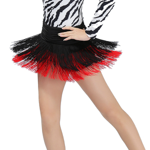 Image 2 - Ladies Latin Dance Costume Skirt Girls Salsa / Rumba / Samba / Belly Dancing Dress Fringe Performance Outfits With Shorts Inside