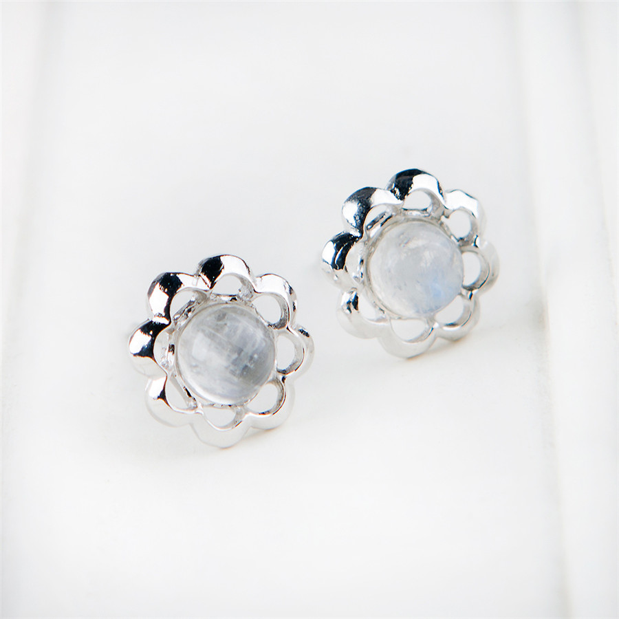 Genuine Natural Moonstone Women Femme Charms Sterling 925 Silver Romantic Stud Earring
