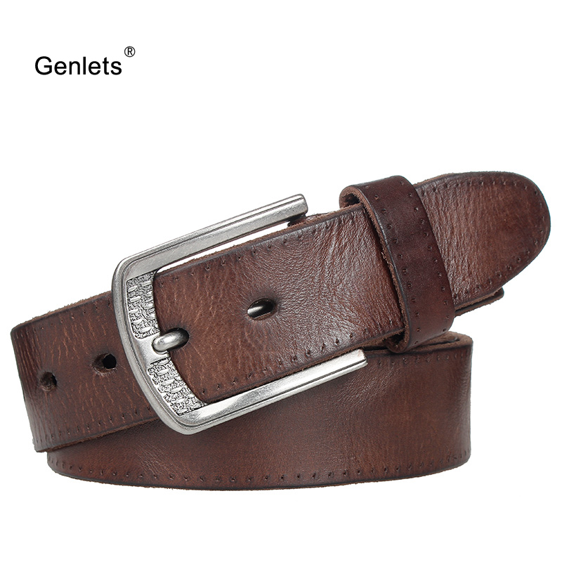 new men's cowhide leather belt luxury genuine leather belts for men pin buckle  jean buckle strap brown colors cintos