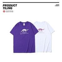 2018 Spring Summer Xieruis Dinosaur Printed Women Men Basic T Shirts Tees Hiphop Style Men 100