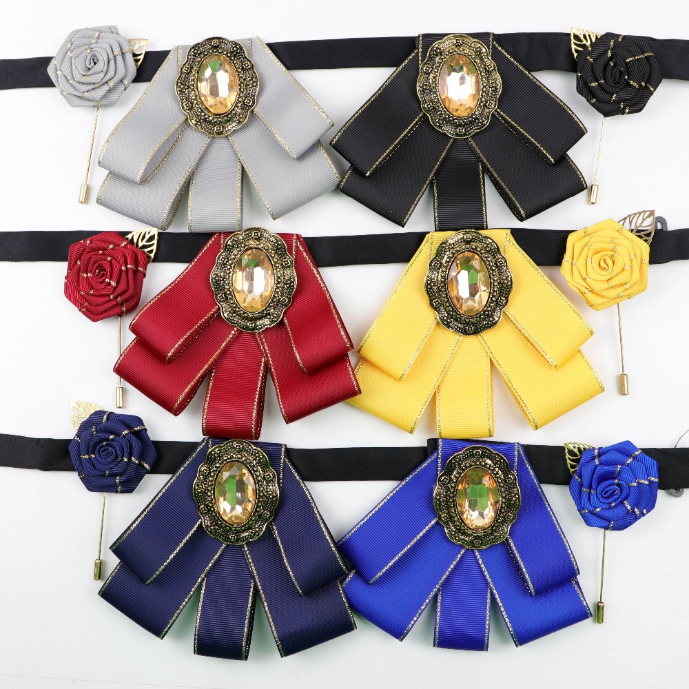 Woman Shiny Bowtie Brooch Pin Set Fashion Pretty Ribbon Solid Color Breastpin Butterfly Bowknot Bow Tie Cravat