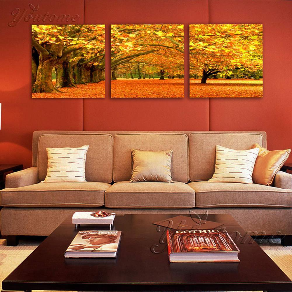 3 Piece Gold Wall Art Maple Tree Painting Modern Art