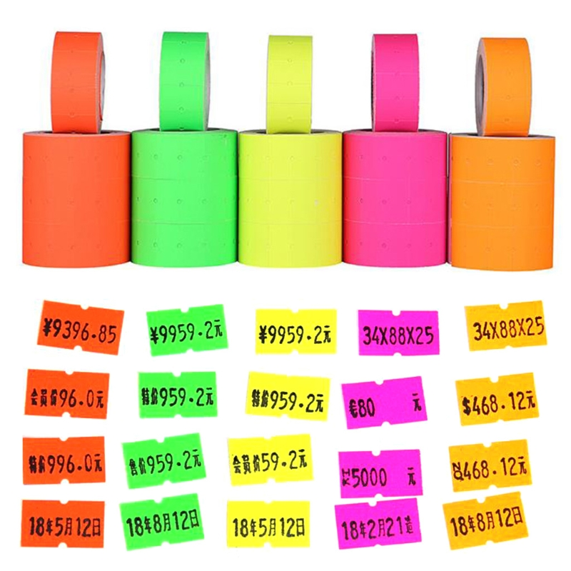 500pcs/roll Colorful Price Label Paper Tag Mark Sticker For MX-5500 Labeller Gun Self-adhesive Design Price Label Retail Tags