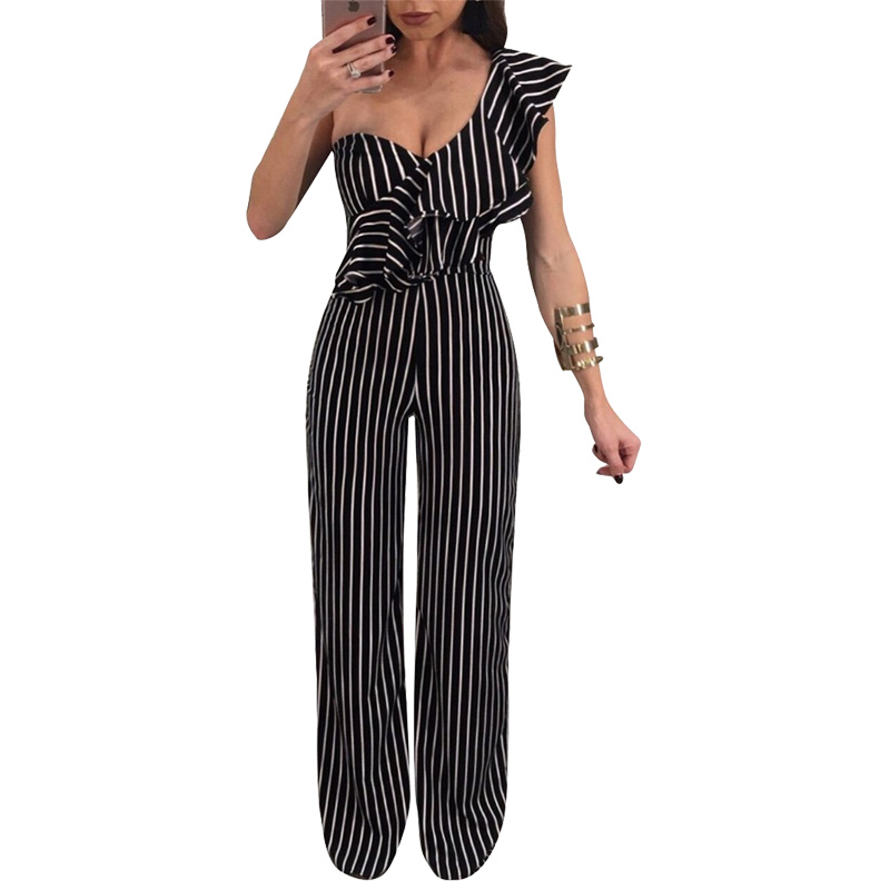 Women's Clothing Self-Conscious Striped Romper Women Jumpsuit Overalls One Shoulder Ruffle Elegant Ladies Party Jumpsuits Loose Black Wide Leg Jumpsuit Outfits