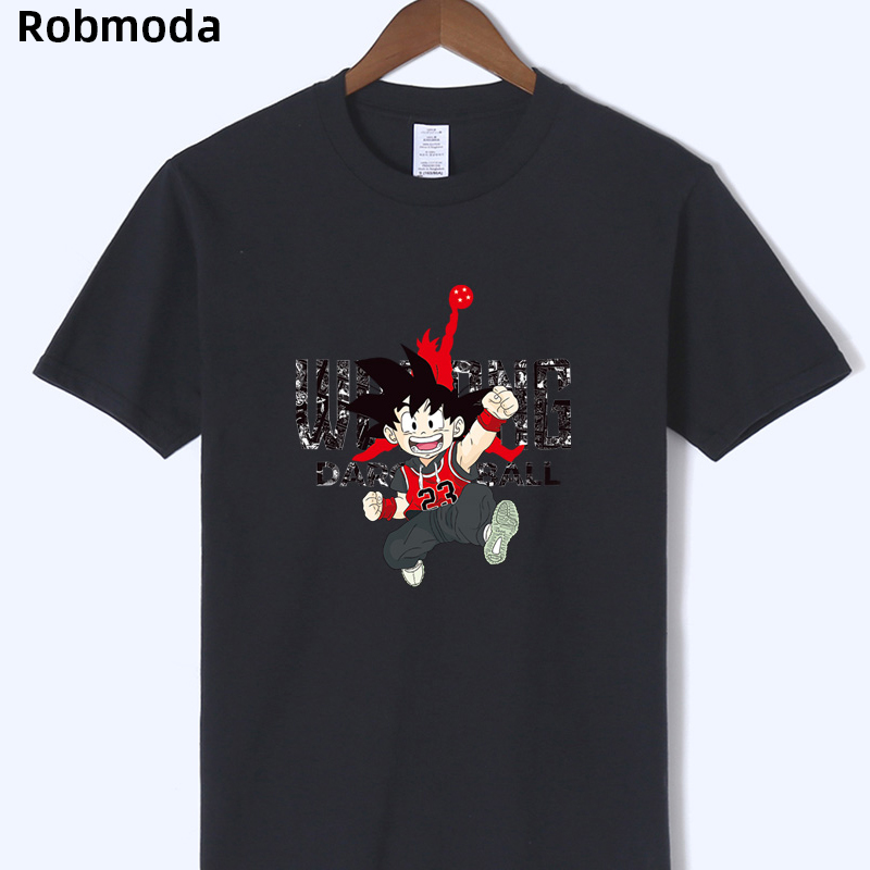 Japanese Anime Dragon Ball Z Wukong Print <font><b>tshirt</b></font> <font><b>Jordan</b></font> <font><b>23</b></font> Men's Slim fit Bodybuilding clothing white tee shirt camiseta hombre image
