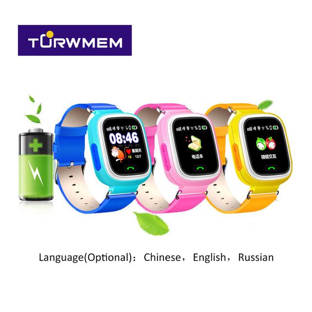 2016 tela de toque colorida posicionamento wifi smart watch crianças derice chamada sos localizador anti perdido lembrete q90