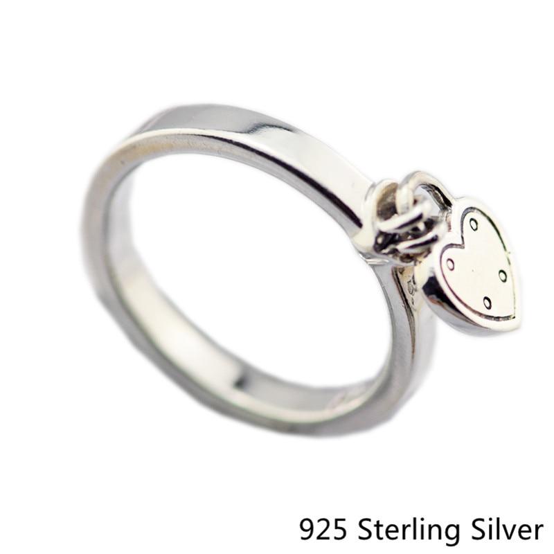 ce1ac0070f41 Auténtica plata esterlina 925 amor anillo de bloqueo para las mujeres  original moda Amuletos estilo europeo joyería CKK