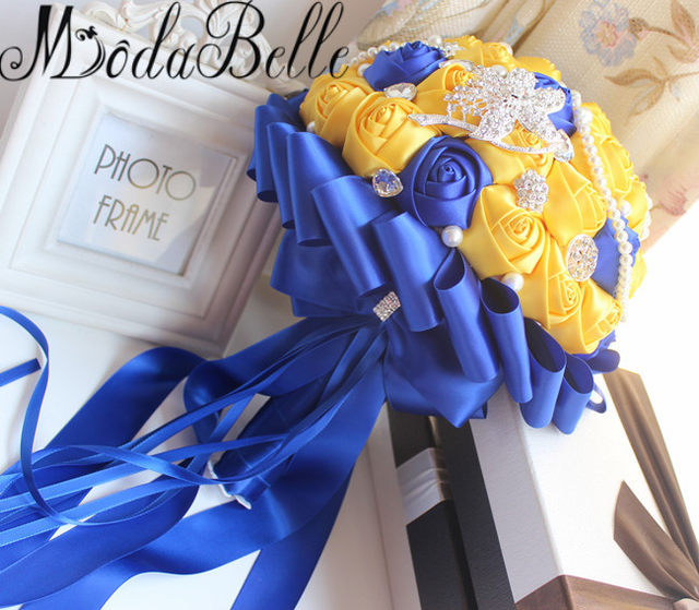 Online Shop Modabelle Yellow Royal Blue Wedding Bouquets With ...