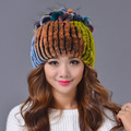 2017 Fashion Women Rex Rabbit Fur Hat Ladies Winter Pompom Caps Thicken Flower Ears Warm Hat Caps Knitted Real Mink Fur Hats