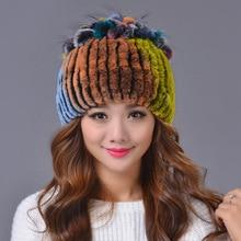 купить 2016 Fashion Women Rex Rabbit Fur Hat Ladies Winter Pompom Caps Thicken Flower Ears Warm Hat Caps Knitted Real Mink Fur Hats по цене 2524.53 рублей