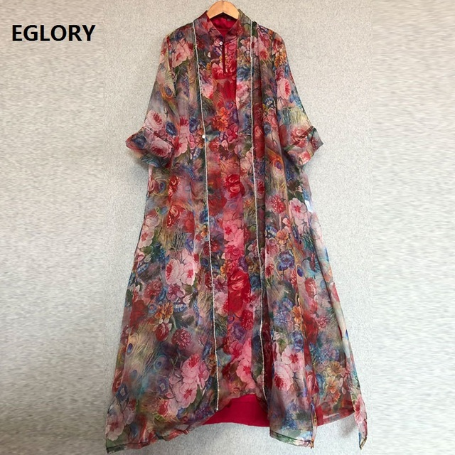 Top Quality Designer Clothing Sets Women Vintage Floral Print Long Cardigan Jackets+Sleeveless Midi Silk Dress Suit Female Set