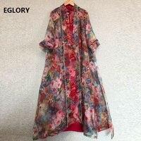 Top Quality Designer Clothing Sets Women Vintage Floral Print Long Cardigan Jackets+Sleeveless Midi Silk Dress Suit Female Set