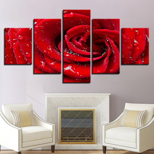 Canvas prints poster framework living room wall art pictures 5 pieces bright dew red rose flower