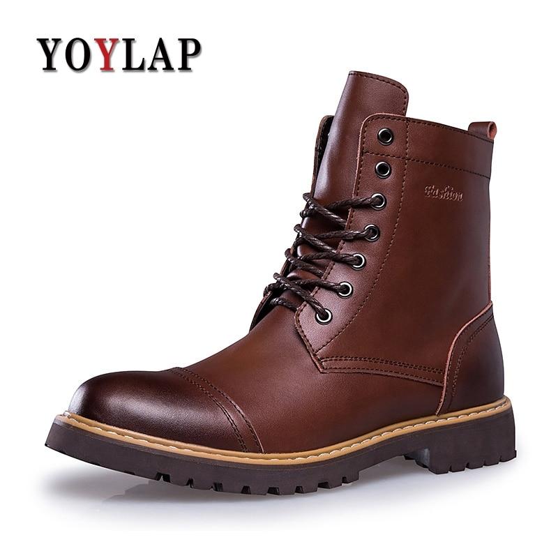 YOYLAP Brand Men Winter Shoes Warmest Genuine Leather Handmade Men Winter Snow Boots