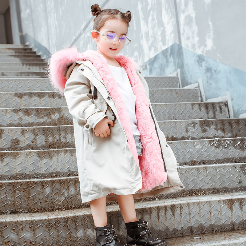 2018 New Winter Boy Girls Fur Jackets Thicken Long Coat Rabbit Real Fur Overcoat Kids Outwear