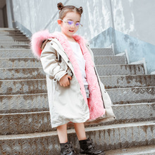 2018 New Winter Boy Girls Fur Jackets Thicken Long Coat Rabbit Real Fur Overcoat Kids Outwear Warm Sleeve Children Parka TZ343