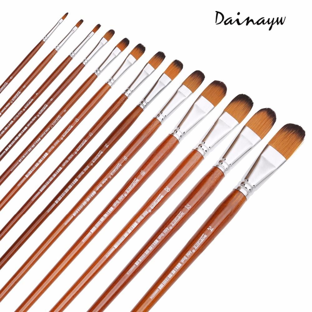 13Pcs Artist Filbert Nylon Hair Acrylic Painting Brush Set Long Handle School Drawing Tool Watercolor Brush For Art Supplies