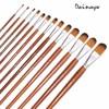 13Pcs Artist Filbert Nylon Hair Acrylic Painting Brush Set Long Handle School Drawing Tool Watercolor Brush