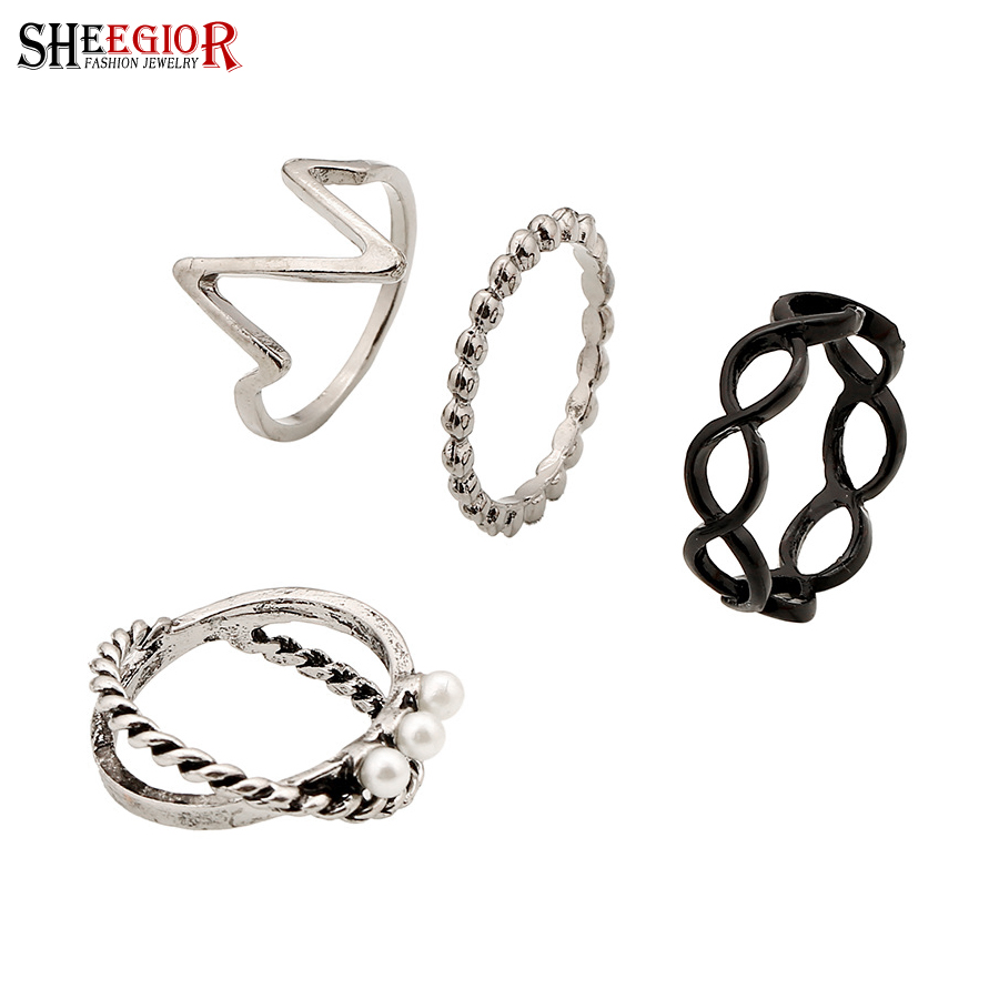 Vintage silver black plated rings set Korean punk rings for women bague femme men jewelry bijoux lord of the rings Accessories