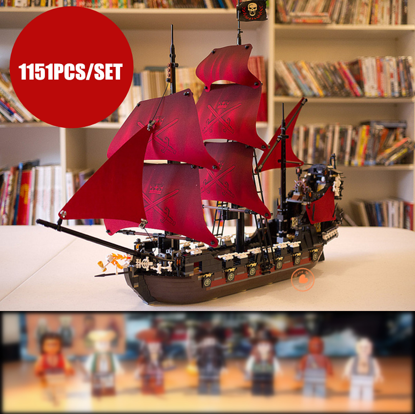 New Queen Anne's revenge fit legoings Pirates of Caribbean figures military city 4195 ship Building Block bricks gift kids toys цена