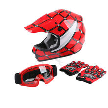 DOT Youth Kids Red Spider Net Motocross Off Road Helmet MX Goggles Gloves S M L
