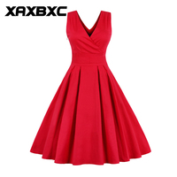 XAXBXC 2017 Summer Fashion Girl Vestido Solid Color Elegant Lace Hollow Floral Flower Vintage A Line
