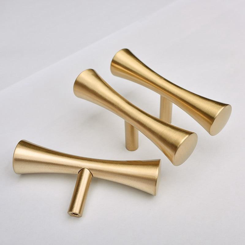 Satin Brass Tbar Furniture Cabinet Kitchen Drawer Knobs Cupboard Dresser Pulls Gold-4Pack
