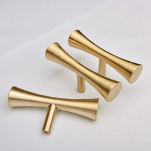 Satin Brass Tbar Furniture Cabinet Kitchen Drawer Knobs Cupboard Dresser Pulls Gold-4Pack