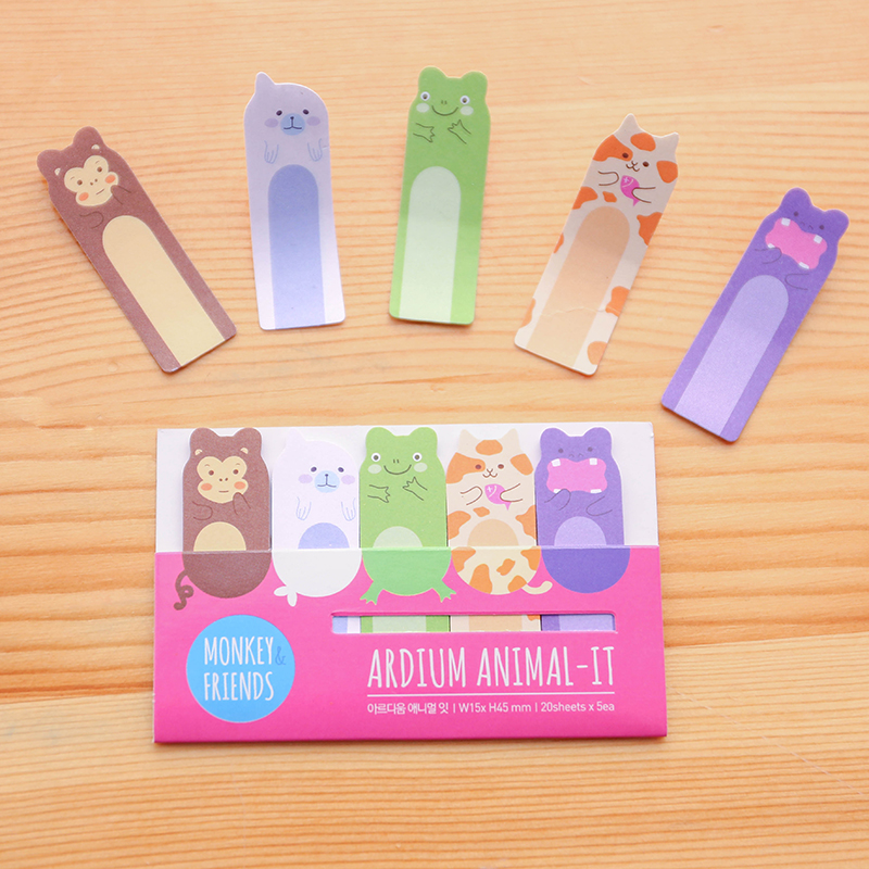 Kawaii Mimi Animal Cat Monkey Frog Memopads Sticky Notes School Office Supply Message Stickers Plan Decor Paper Adhesive In Memo Pads From